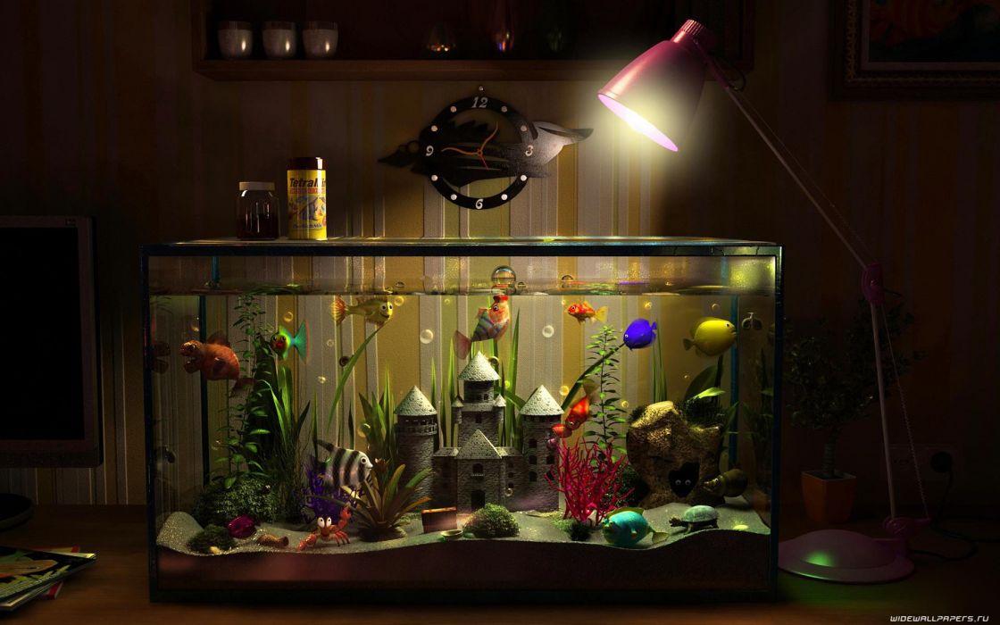 room funny aquarium wallpaper