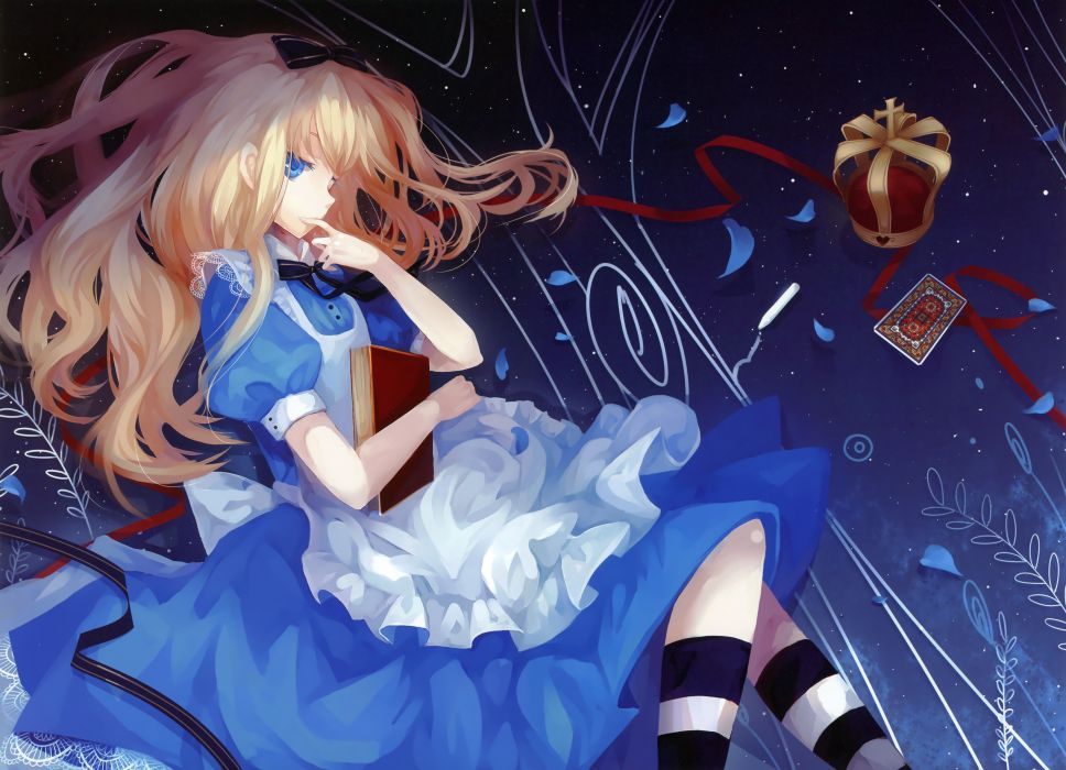blondes cards dress stars blue eyes Alice in Wonderland long hair ribbons socks books bows crowns aprons flower petals blue dress anime girls Alice (Wonderland) hair ornaments striped clothing skies striped legwear wallpaper