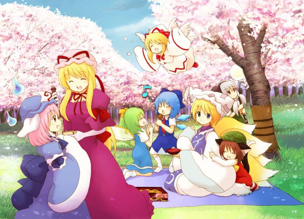 brunettes blondes video games Touhou wings cherry blossoms trees dress flying blue eyes grass long hair Cirno spring nekomimi fairies blue hair ghosts Konpaku Youmu pink hair animal ears red eyes short hair green hair Yakumo Yukari smiling bows sitting cl wallpaper