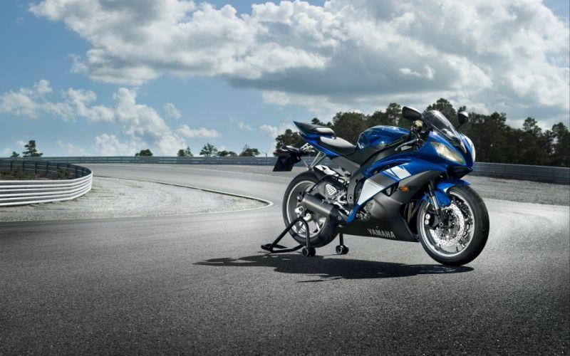 clouds motorbikes Yamaha YZF-R6 wallpaper