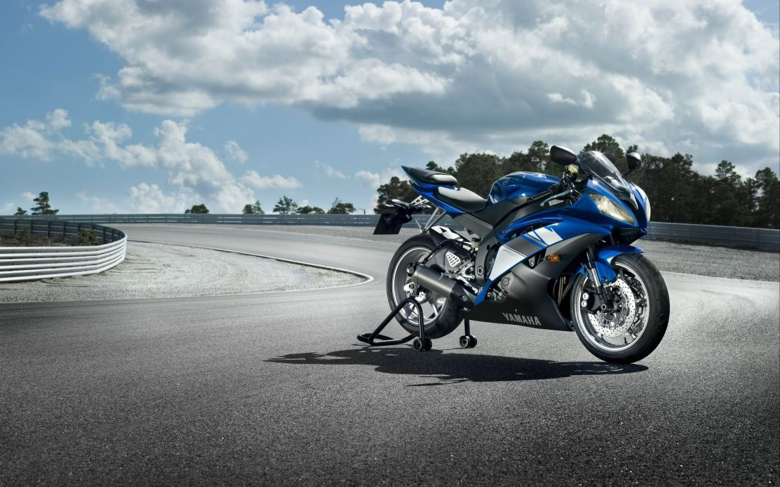 clouds motorbikes Yamaha YZF-R6 wallpaper