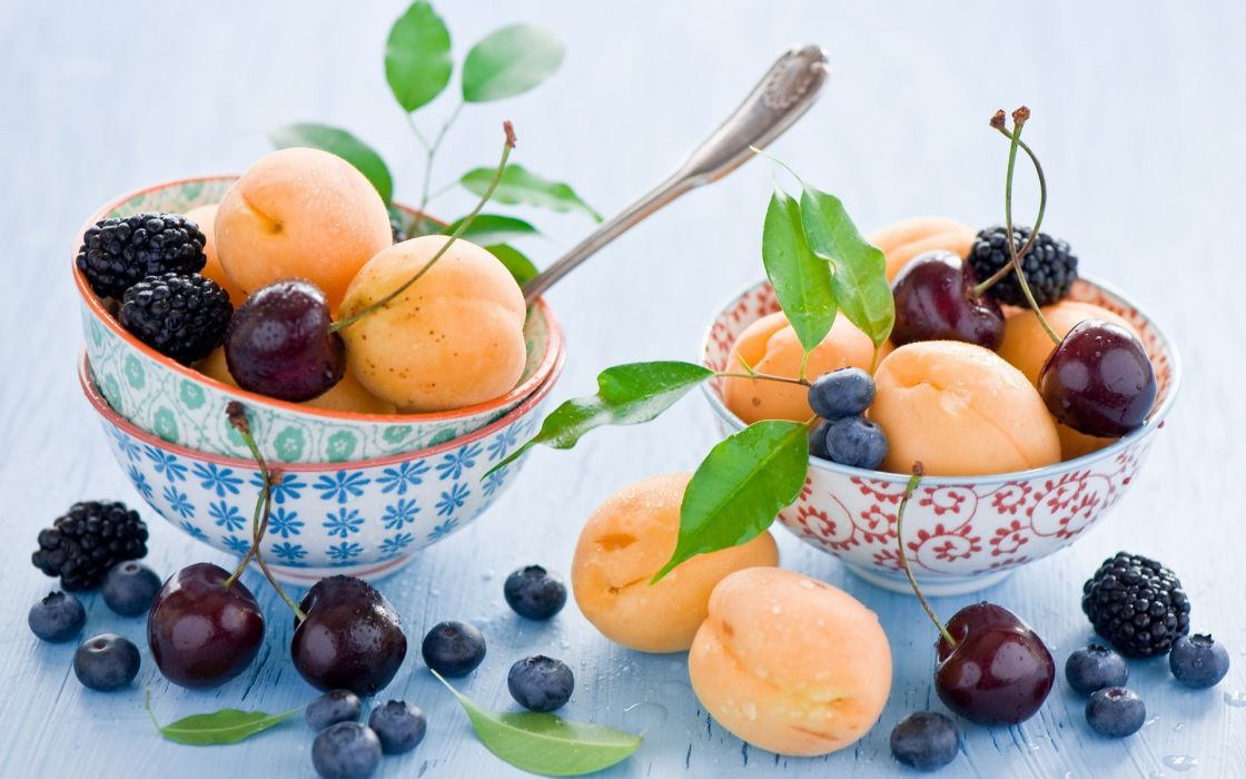 fruits peaches desserts cherries berries blueberries white background blackberries wallpaper