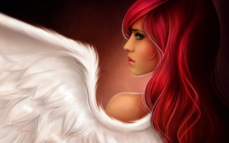 women redheads illustrations angel wings wallpaper