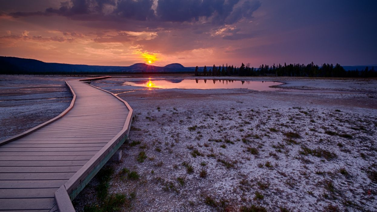 sunset landscapes nature Yellowstone pictorial wallpaper