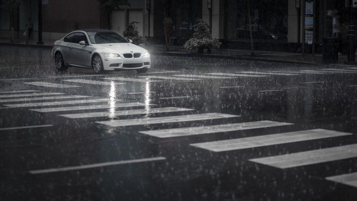 BMW rain BMW 3 Series white cars cities wallpaper