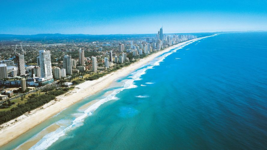 ocean landscapes sand cityscapes buildings Australia Gold Coast turquoise waters beaches wallpaper