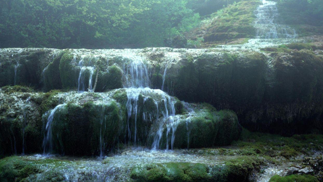 fog falls waterfalls wallpaper