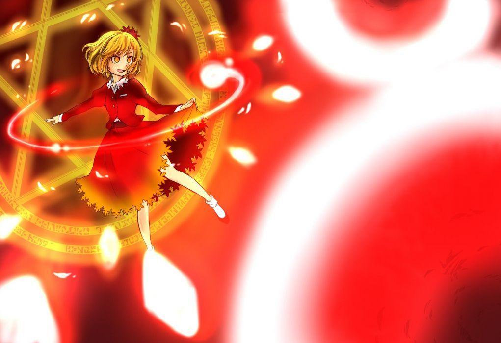 blondes Touhou leaves yellow eyes Aki Shizuha wallpaper