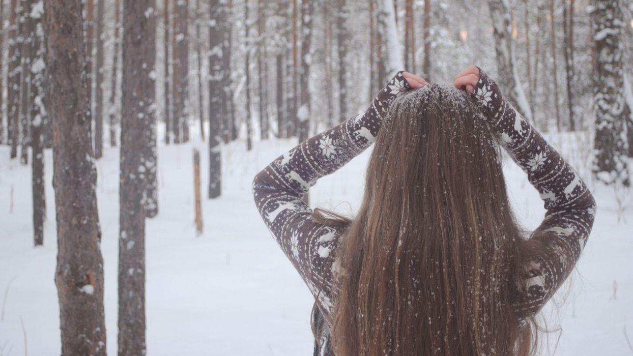 brunettes women winter snow forests wallpaper