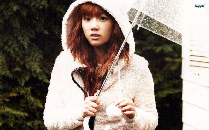 brunettes women Girls Generation SNSD long hair celebrity Asians Korean singers Kim Taeyeon K-Pop umbrellas bangs hood wallpaper