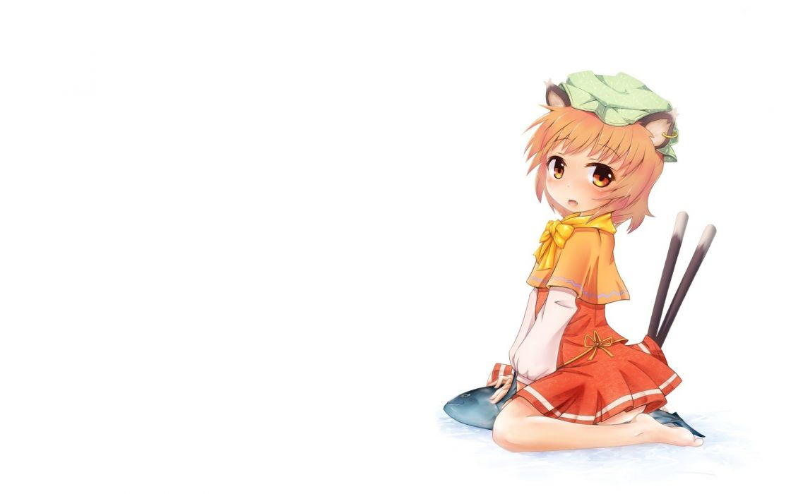 tails Touhou brown animal ears red eyes short hair Chen hats anime girls wallpaper