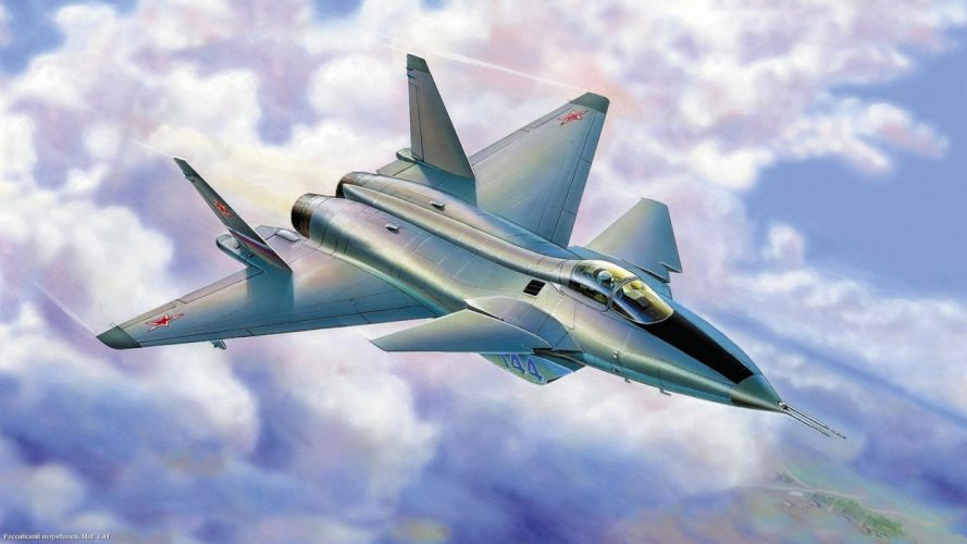 clouds aircraft Russian Air Force fighter jets jets Mig 1_41 wallpaper