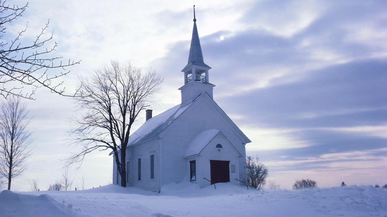 winter Country churches wallpaper