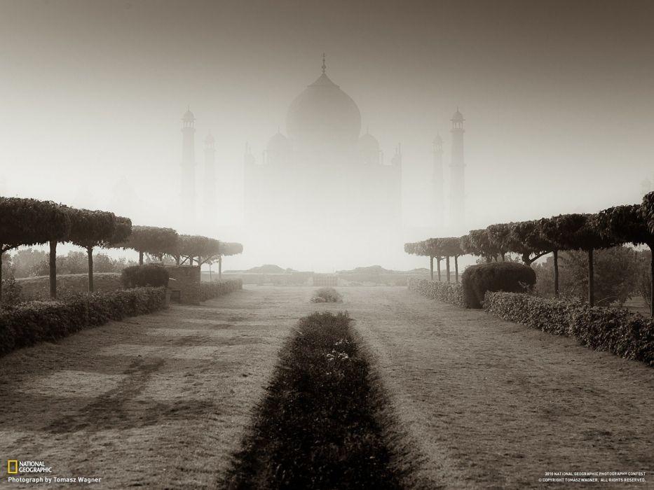 architecture National Geographic Taj Mahal monochrome AIA wallpaper