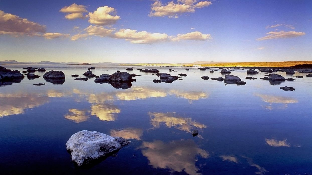 clouds landscapes nature rocks California lakes reflections Mono Lake wallpaper