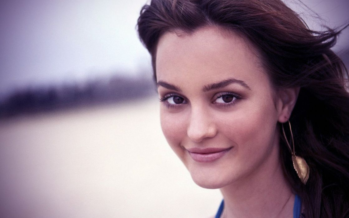 brunettes women close-up celebrity Leighton Meester faces wallpaper