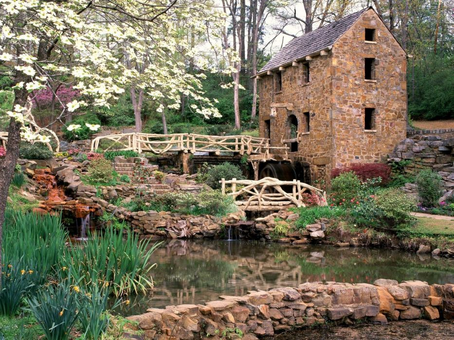 architecture rocks bridges ponds Arkansas mills wallpaper