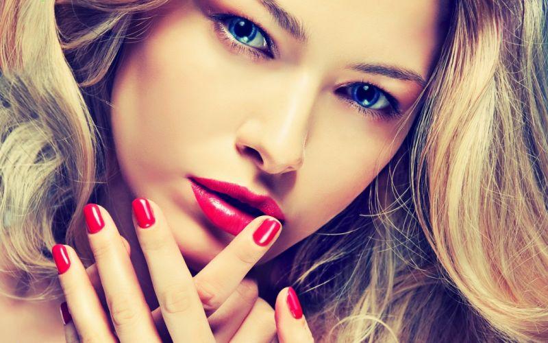 blondes women blue eyes lips wallpaper