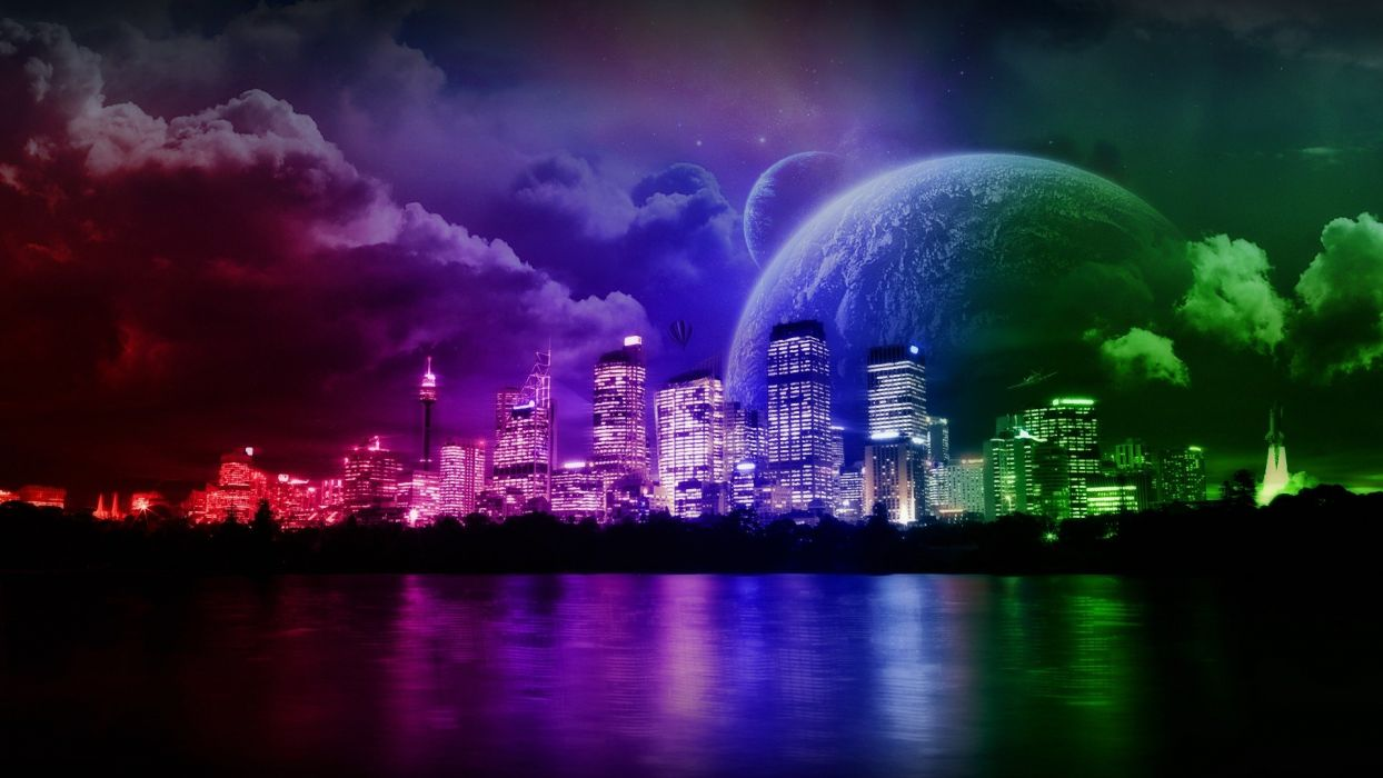 water clouds outer space multicolor planets rainbows science fiction cities wallpaper