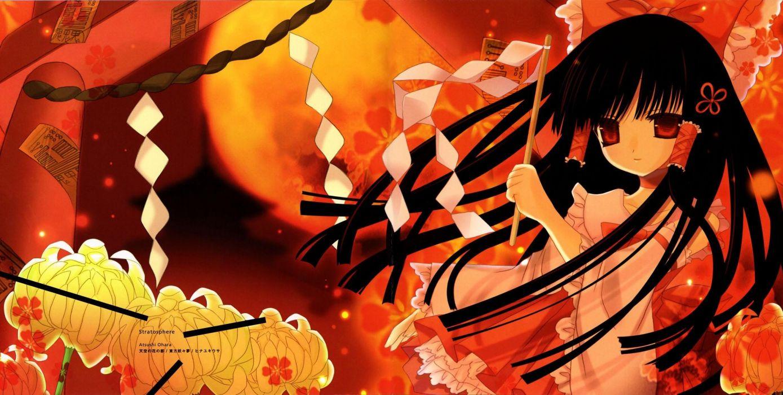 Touhou USA Hakurei Reimu anime duplicate wallpaper