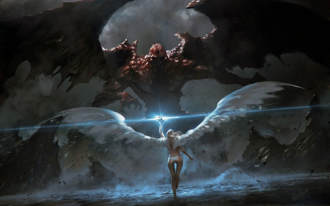 angels fighting demons fantasy art angel wings demon wings wallpaper