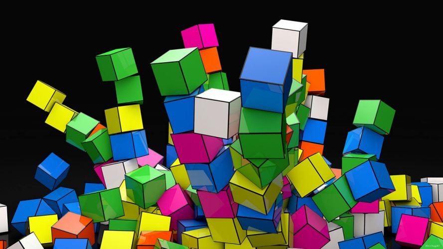 geometry cubes colors down wallpaper