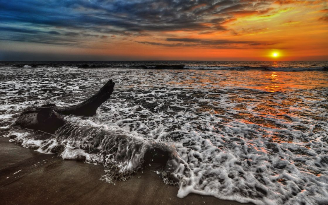 sunset waterscapes sea beaches wallpaper