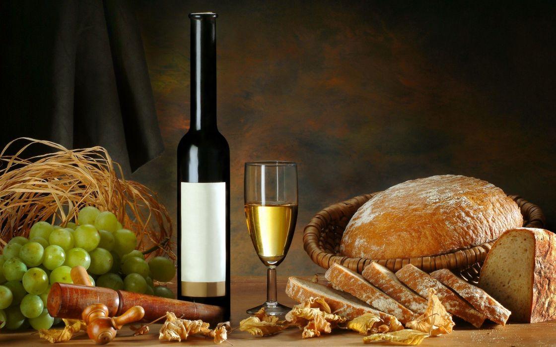 white glass leaves bread grapes wine wallpaper
