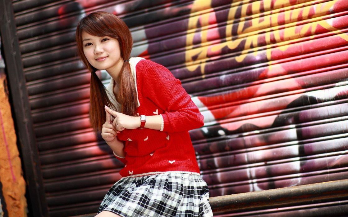 brunettes women graffiti pigtails Asians oriental wallpaper