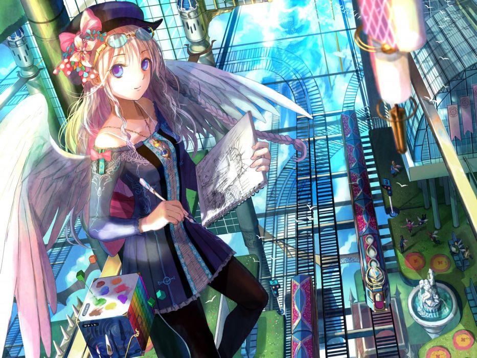 drawings Fuji Choko soft shading anime girls original characters wallpaper