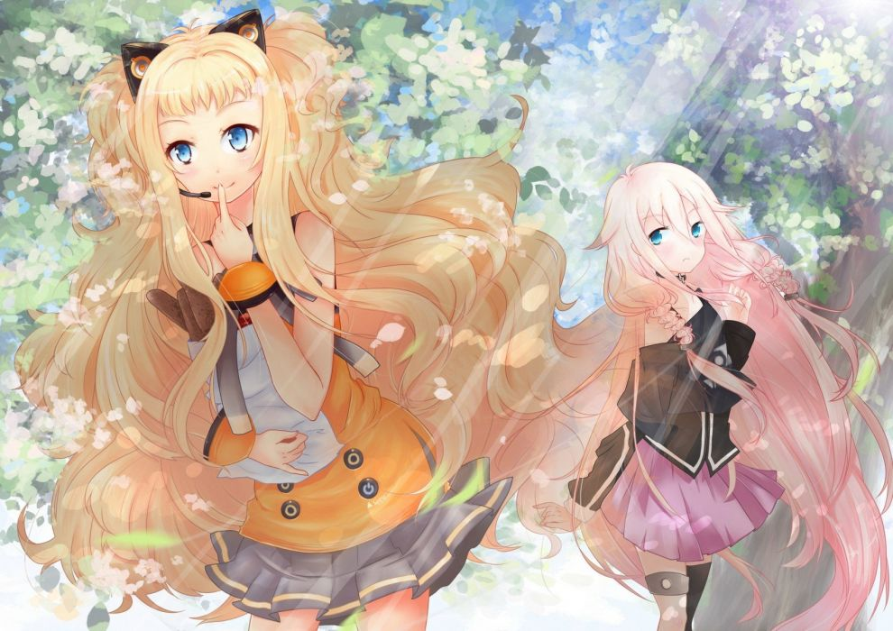 blondes trees Vocaloid blue eyes leaves skirts long hair braids aqua eyes anime girls SeeU headsets wallpaper