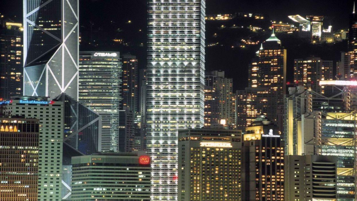 night lights China Hong Kong wallpaper