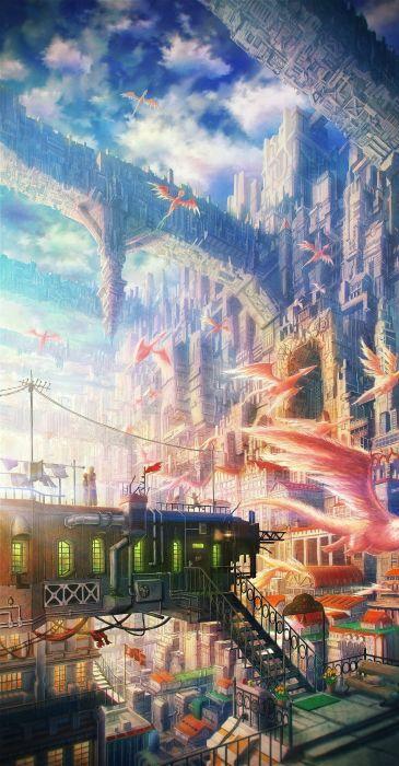 clouds cityscapes dragons bridges buildings stairways fantasy art scenic power lines cities skies original characters Original Content wallpaper