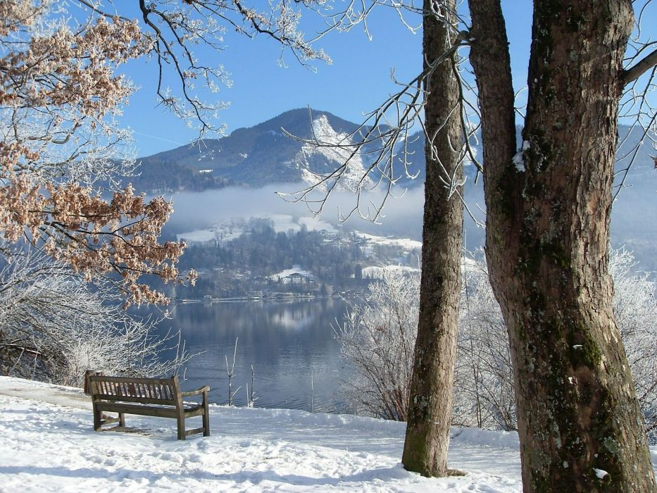 mountains landscapes nature winter snow trees bench wallpaper