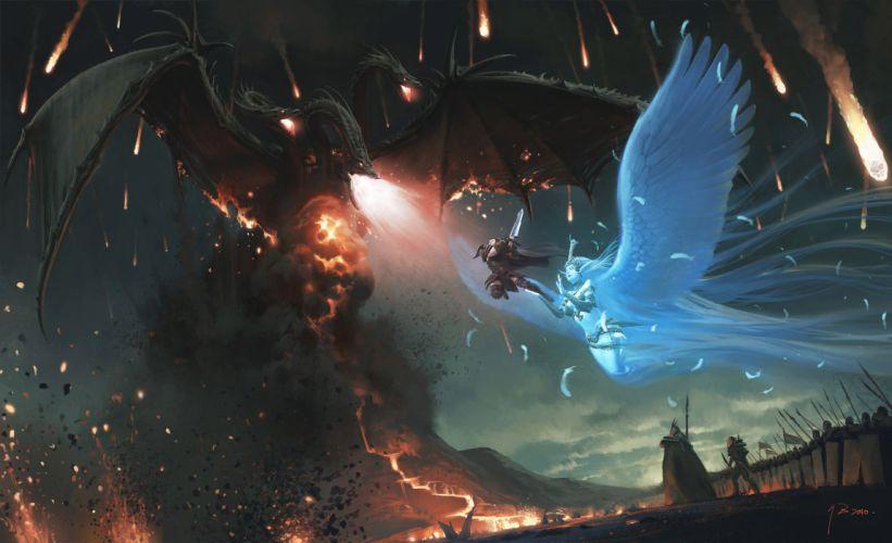 angels dragons battles wallpaper