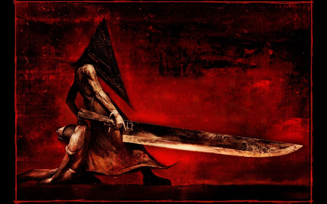 Silent Hill Pyramid Head red background wallpaper