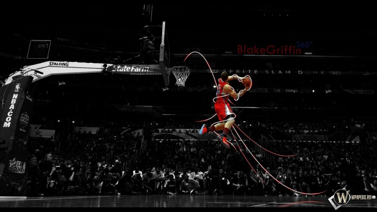 American slam dunk basketball selective coloring Blake Griffin Los Angeles Clippers wallpaper