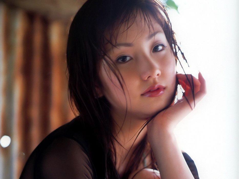 brunettes women Japanese brown eyes Asians wallpaper