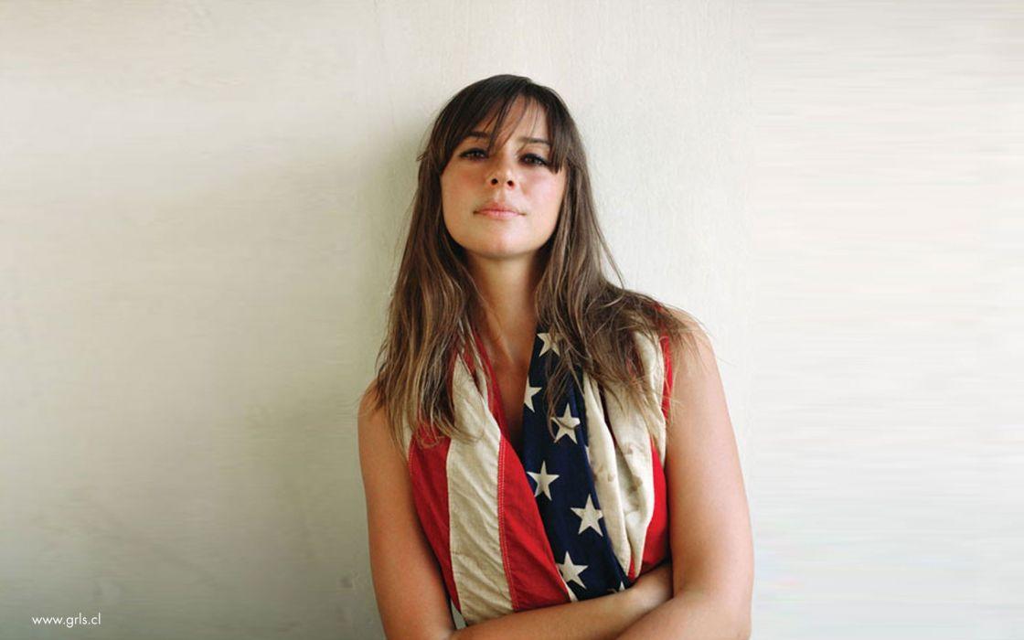 brunettes women American Flag Cat Power wallpaper