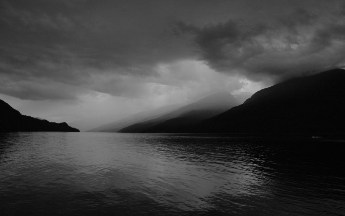 landscapes grayscale wallpaper