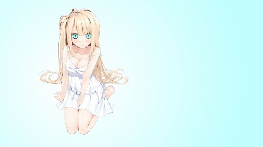 blondes blue eyes cleavage long hair barefoot gradient simple background anime girls sundress summer dress side ponytail original characters gradient background wallpaper