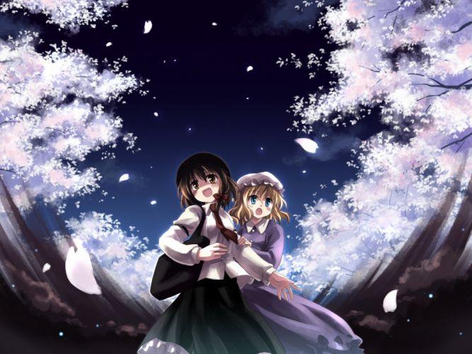 brunettes video games landscapes Touhou cherry blossoms Maribel Han Usami Renko anime girls Yuuki Tatsuya wallpaper