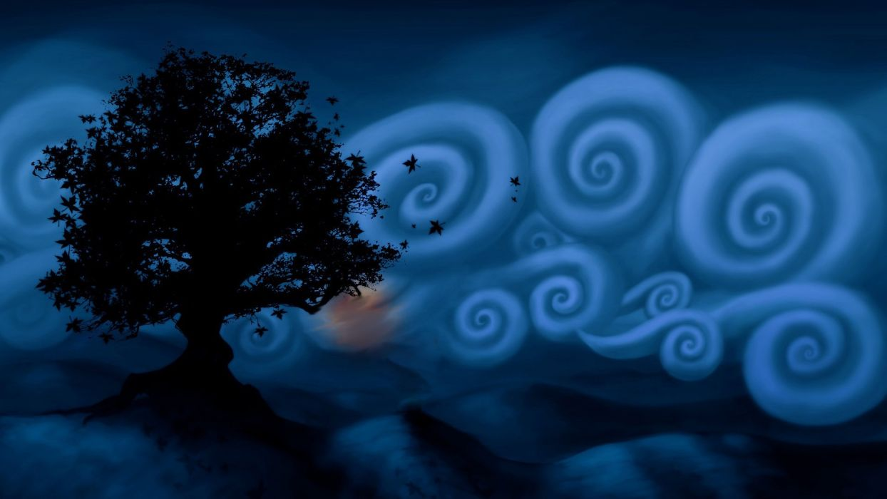 blue clouds trees photo manipulation wallpaper