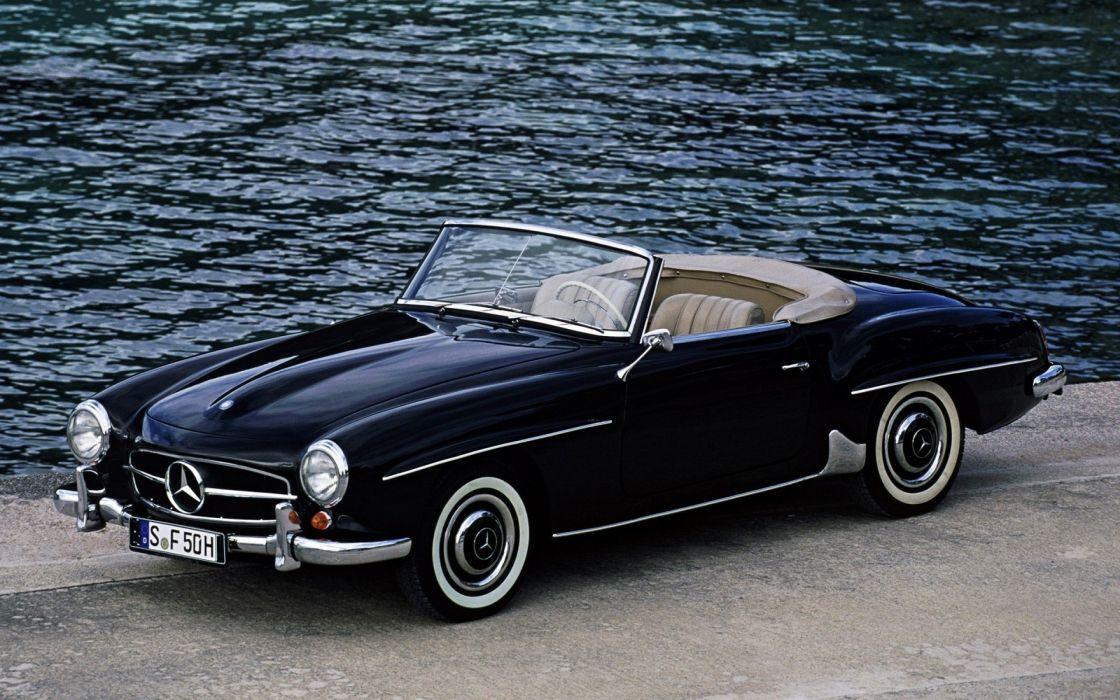 ocean Mercedes-Benz vintage cars old fashion vintage car wallpaper