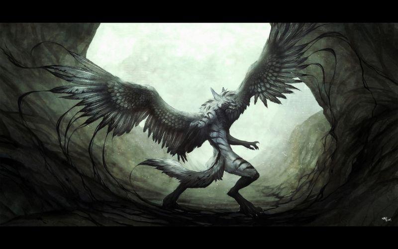 wings monsters fantasy art digital art artwork wallpaper