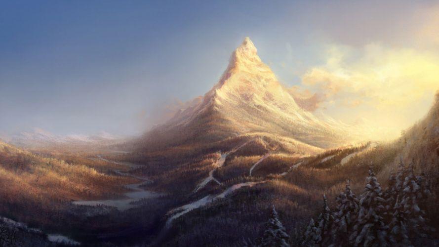 artwork mountain peak wallpaper