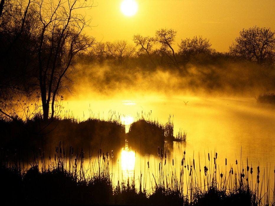 landscapes nature mist sunlight lakes wallpaper
