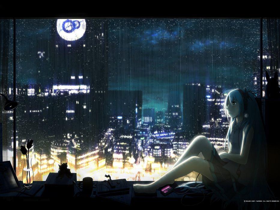 cityscapes Vocaloid night rain Hatsune Miku wallpaper