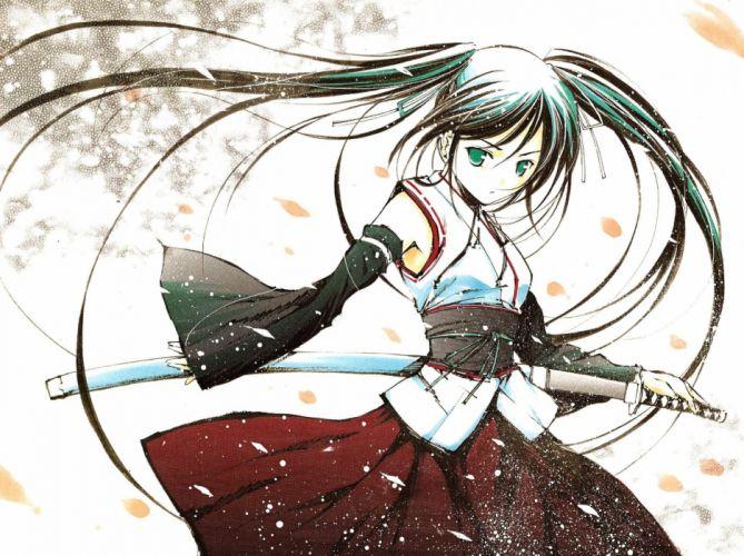 katana Miko girls with swords detached sleeves Pixiv Fantasia wallpaper