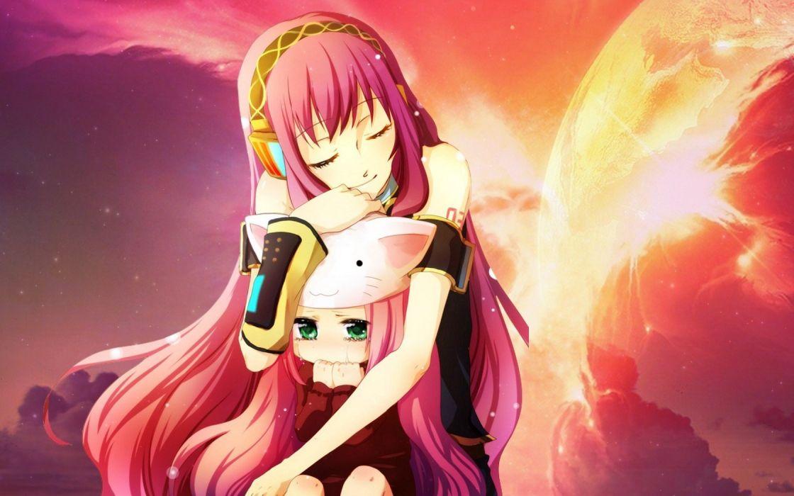 headphones Vocaloid Megurine Luka long hair green eyes pink hair anime detached sleeves Vocaloid Fanmade Toeto Luka wallpaper